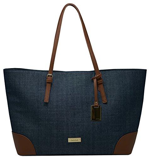 Bebe Designer (Bebe Womens Debbie Faux Leather Trim Shopper Tote Handbag Denim Large)