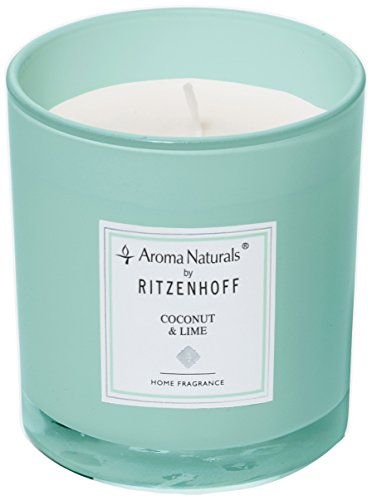 (Ritzenhoff Aroma Naturals Turquoise Glass Scented Candle, 7x 7x 8cm)
