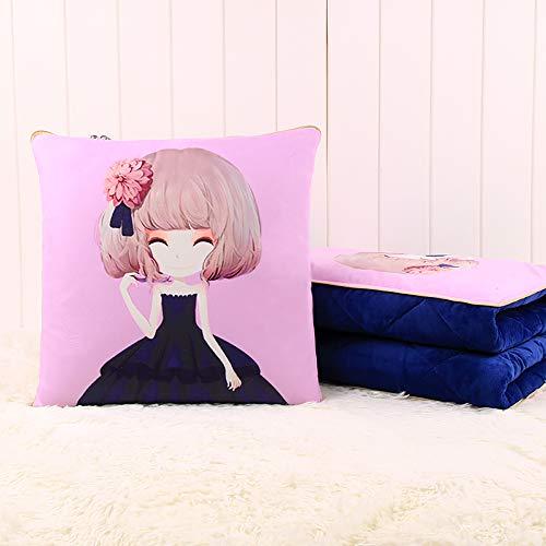 r, Coral Velvet Pillow Quilt Dual-Use Nap Padded Blanket Folding Car Car Multi-Function Pillow,G-4040CM ()