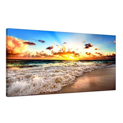 - Sunset Beach Wave Scene Seascape Landscape Picture Modern Painting on Canvas 1 Piece Framed Wall Art for Living Room Bedroom Home Decor Gallery Wrap Giclee Posters and Prints artwork (20''W x 40''H)