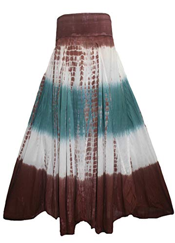 Agan Traders 61 SK Bohemian Boho Cotton Long Tie Dye Maxi Skirt (Small, Brown Green)