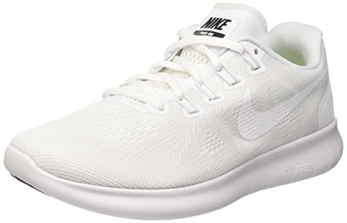 NIKE Womens Free RN 2017 White/White-Black-Pure Platinum 880840 Sneakers Shoes (7.5 B(M)...