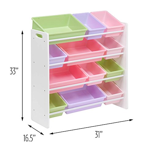 41wo945Ma0L - Honey-Can-Do SRT-01603 Kids Toy Organizer and Storage Bins, White/Pastel