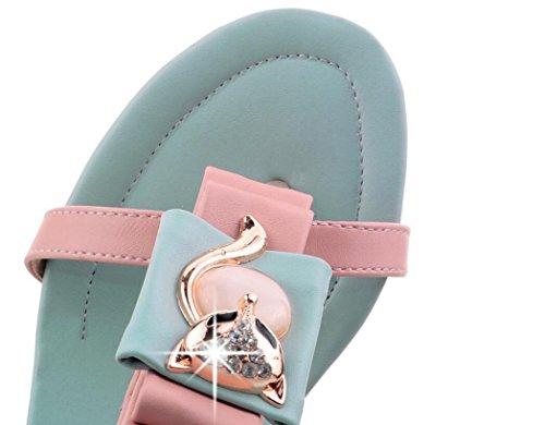38 Las 37 Brillantes Mandarina La Pink Una Señoras Verano Sandalias Hebilla De Cara Talón Blanco Palabra 5cm Del Xie Rosa White Rhinestones Ortografía Cómodo Áspero xaEXBwqWSS