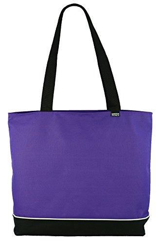 Shoulder Tote Bag with Zipper, Purple (Purple Zipper)