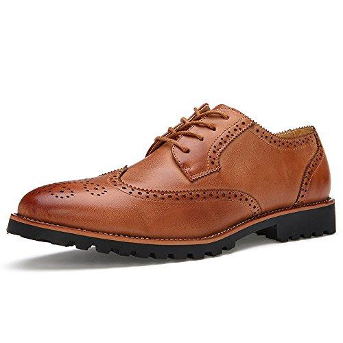 Shoes Cuir Brown Chaussures Sculptés Men's Casual Hommes LEDLFIE Block pour en EOSpEqz