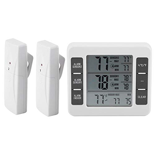 Wireless Digital Freezer Thermometer Temperature Monitor Sensor Indoor Outdoor Audible Alarm LCD Screen Display with 2 Remote Control