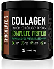 Giant Sports Complete Pure Collagen Peptides with Added L-Tryptophan, Grass-Fed, Pasture-Raised, Chocolate, 468g