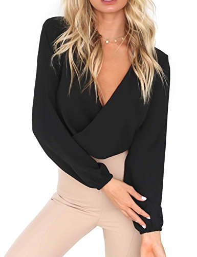 Women's Sexy Summer Casual Blouses Girls Tie Backless Deep V Neck Chiffon Blouse Shirts Top M Black -