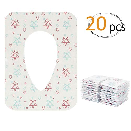 Biubee 20 pcs Disposable Potty Seat Cover - Large Size Travel Toilet Seat Cover with Adhesive No ()
