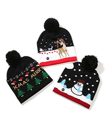 Flashing Christmas Hats (Fun Central BD064, 3 Pcs Assorted LED Christmas Hats, Light Up Beanie Knit Cap, LED Winter Snow Hat, Flashing Christmas Party Hat for)