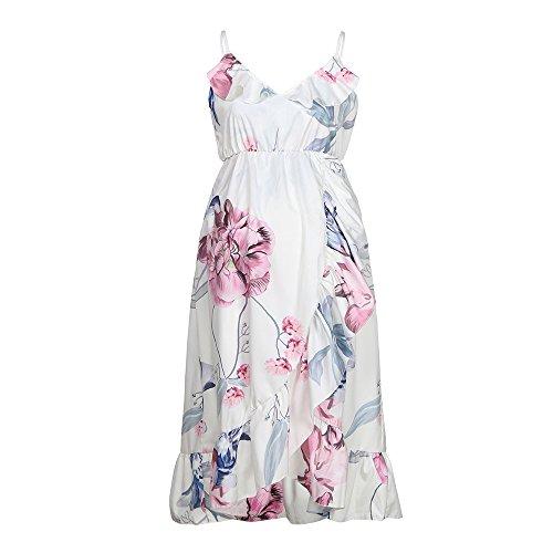 Nadition Ruffled Maternity Dress Comfortable Pregnance Pregnant Woman Floral Ruffle Dress -
