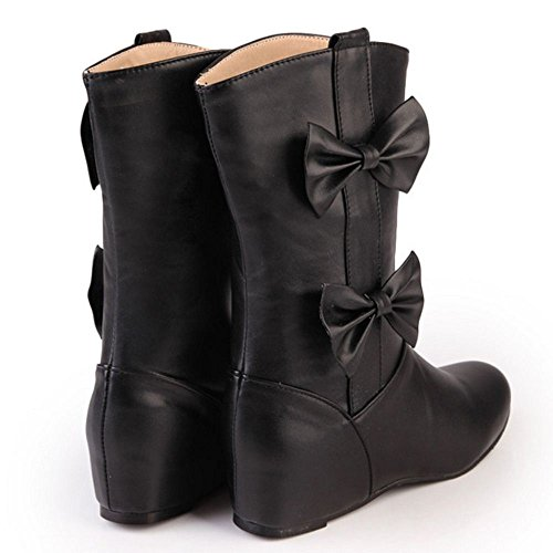 Women Sweet Height Boots Autumn Boots RizaBina Black Mid Bowtie Increasing 1qwd7aOR