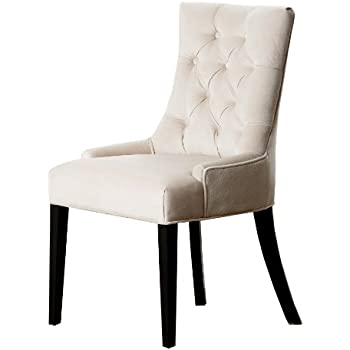 abbyson zuma cream microsuede tufted dining chair