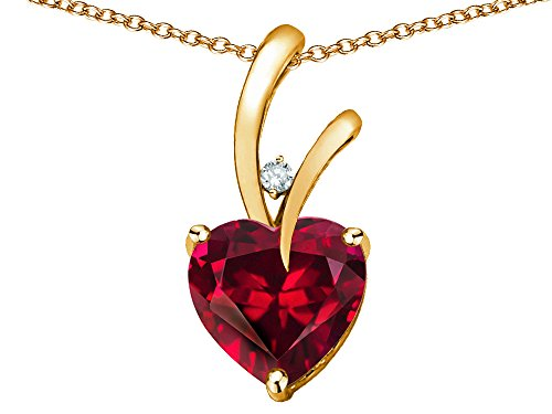 10k Yellow Gold Diamond Ruby - Star K Heart Shape 8mm Created Ruby Endless Love Pendant Necklace 10 kt Yellow Gold