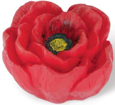 Siro Designs SD101-104 Poppy Cabinet Knob, 1.5-Inch, Red (Knob Petal Flower Design)