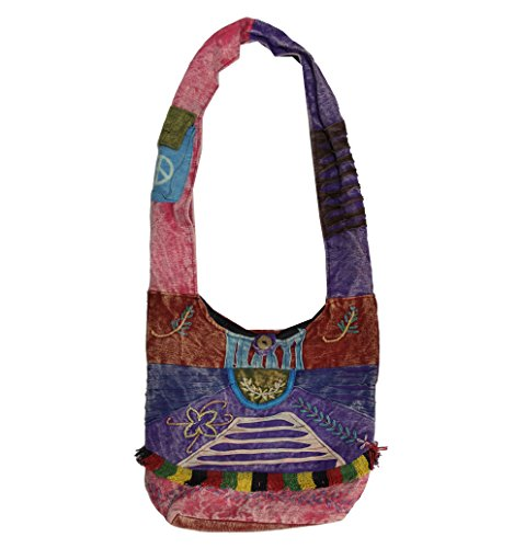 Spiral Sign - Lungta Boho Bohemian Peace Signs Spiral Patch Sling Crossbody Monk Bag Purse Nepal