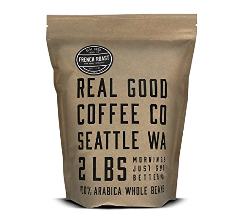 Real Good Coffee Co French Dark Roast Whole Bean Coffee, 2 Pound Bag, 100% Arabica Coffee Beans