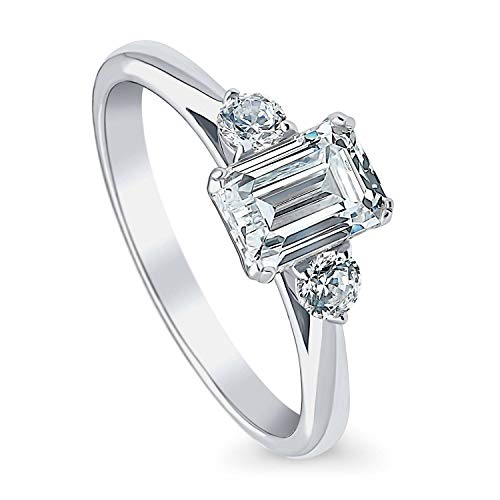 BERRICLE Rhodium Plated Sterling Silver 3-Stone Anniversary Promise Engagement Ring Made with Swarovski Zirconia Emerald Cut 1.22 CTW Size 6