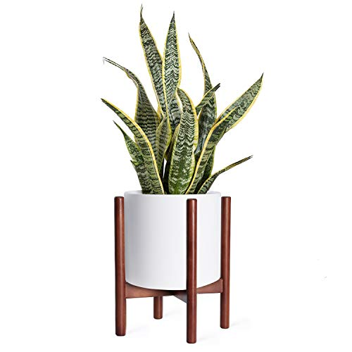 Mid Century Modern Plant Stand, Wooden Indoor Flower Pot Stand, Plant Pot Holder Retro Home Decor, Hold up to 10 inch Planter (Planter Not Included) - Brown