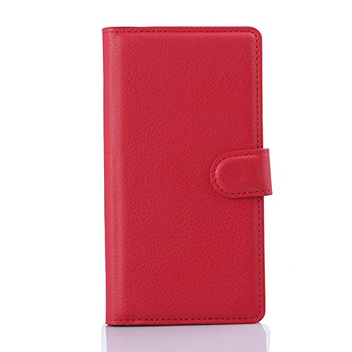 Sony Xperia M4 Aqua Case - Demomm(tm) Flip Pu Leather Wallet Case Holder Cover with Stand / Card Slots for Sony Xperia M4 Aqua (Red)