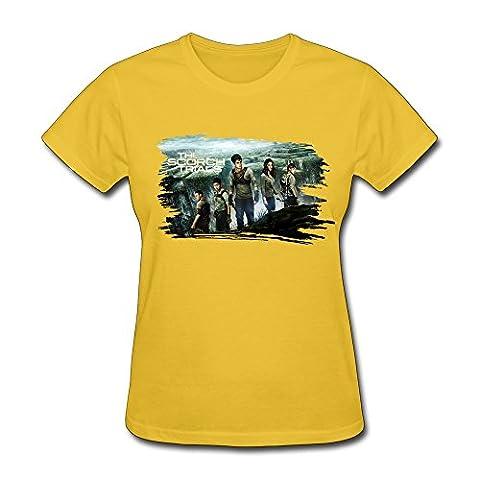 HO Action Moive Maze Runner The Scorch Trials T Shirt For Women Yellow L (The Maze Runner T Shirt Girls)