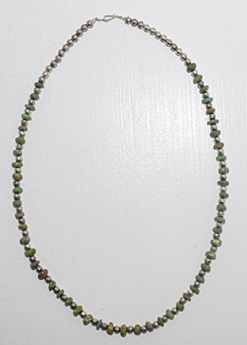Nevada Turquoise - Emerald Green Nevada Turquoise Necklace with Sterling Silver Beads