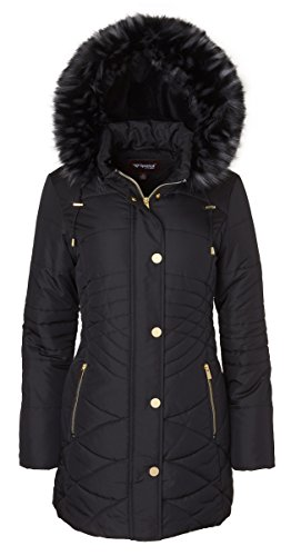 Sportoli Women's Longer Length Plush Lined Puffer Coat and Zip-Off Detacheable Fur Trim Hood - Black (Large) - Trim Hooded Down Coat