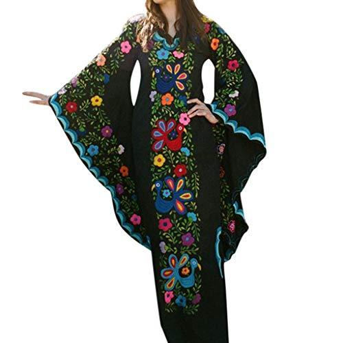 Mysky Fashion Women Retro Floral Print V-Neck Trumpet Sleeve Long Dress Ladies Summer Casual Bohemian Maxi Dress Black ()