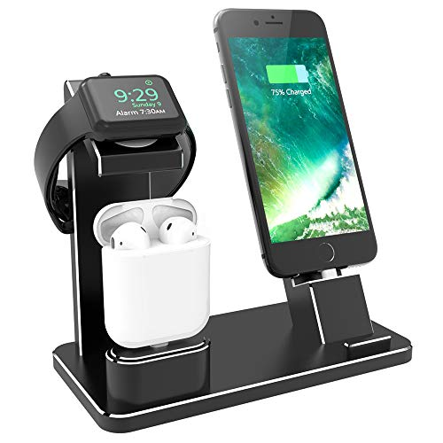 SEN-KEY 3 in 1 Wireless Charging Stand for iPhone,Charging Stand for Apple Watch,Apple Charging Dock for iWatch Series 4/3/2/1,iPhone Xs, Xs Max, Xr, X, 8, 8 Plus, 7,6,iPad Mini,Air Pods (Black)