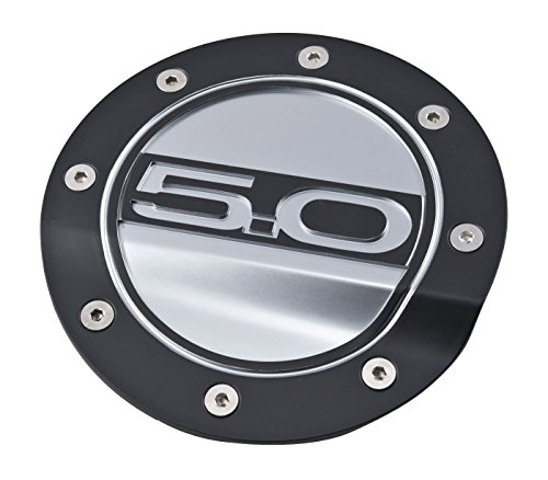 2015-2019 Mustang GT Competition Series Black & Silver Fuel Door - 5.0 Logo