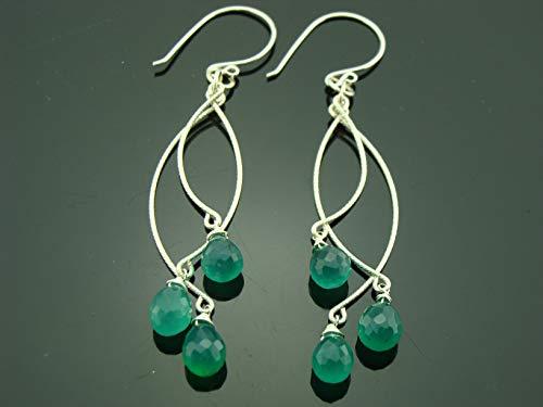 Long Green Onyx Chandeliers 925 Sterling Silver Earrings