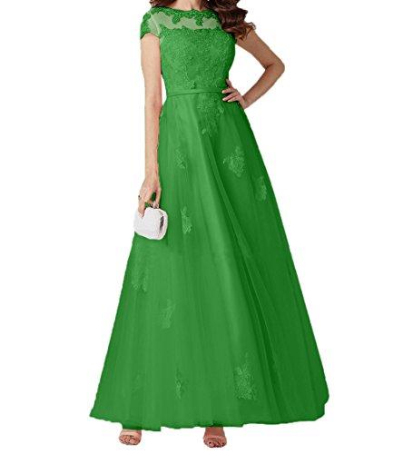 Lang Charmant Brautmutterkleider Abschlussballkleider Abendkleider Rock Kurzarm A Damen Spitze Romantisch Promkleider Linie Grün gwgPrpq