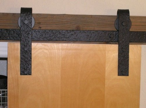 Agave Ironworks RH003-5-04 Barn Door Hardware System with 5' Track, Dark Bronze Finish