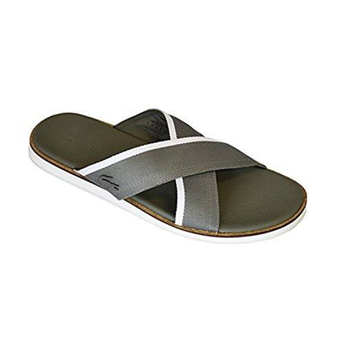 Lacoste Men's Coupri 117 Khaki Canvas Sliders Sandals Shoes Sz: 8 Canvas Lined Sandals
