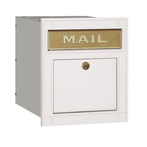 Salsbury Industries 4145P-WHT Cast Aluminum Column Mailbox Locking Plain Door, White - Mailbox White Plain Door