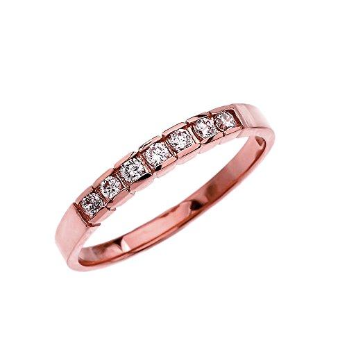 Diamond 10k Rose Gold Wedding Band (Size 9)