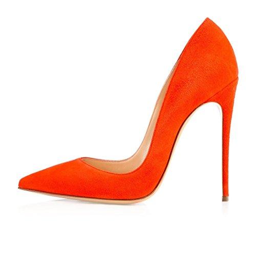 Femme Talons 12cm pointu Elegante orange Escarpins ELASHE daim glissement Bout stiletto Hauts sur en Escarpins pBdFnqw