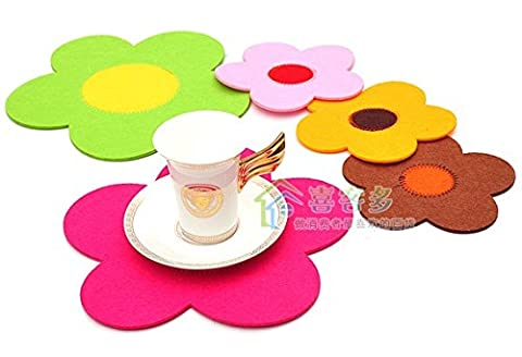 10pcs/lot Cup Mat Free Shipping Creative Household Sunflower Small Non-woven Fabric Coasters Cup Mat Insulation Mat - Creative Crochet Doily