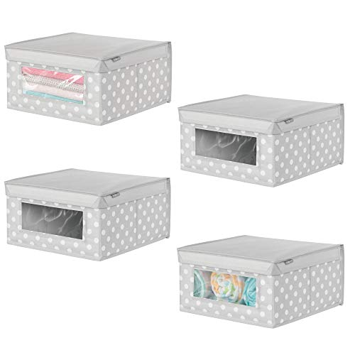 (mDesign Soft Stackable Fabric Closet Storage Organizer Holder Box - for Child/Baby Toddler Kids Room, Nursery Clothes Organization - Polka Dot - Medium, Pack of 4, Light Gray with White Dots)
