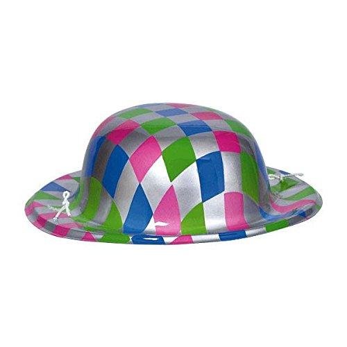 Amscan Disco Fever 70's Party Silver Checkerboard Mini Bowler Hat Accessory, Plastic, 6