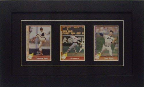 (Trading Card Frame for 3 Standard Trading Cards with Black (White Trim) Matting and Black Frame)