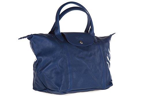 Longchamp borsa donna a mano shopping in pelle nuova blu