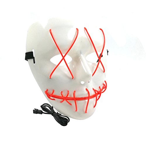 Tinksky Frightening EL Wire Halloween Cosplay Led Mask Light Up Mask for Festival Parties Halloween Costumes (Red)