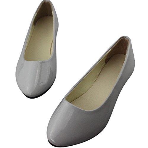 Chère Fois Les Femmes Enfiler Des Ballerines Bout Pointu Chaussures De Ballerine Gris