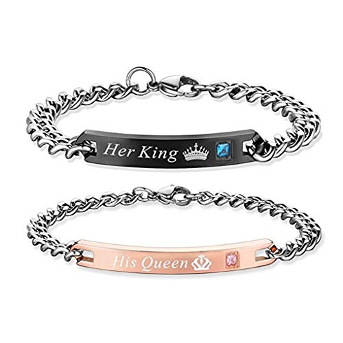 Gift for Lover His Queen Her King Stainless Steel Couple Bracelets for Women Men Jewelry Matching Set (His Queen Her King) (King And Queen Of Hearts Tattoo Meaning)