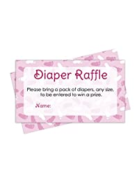 Diaper Raffle Tickets Girl Baby Shower Games - Pink Girl Theme (25 Cards)