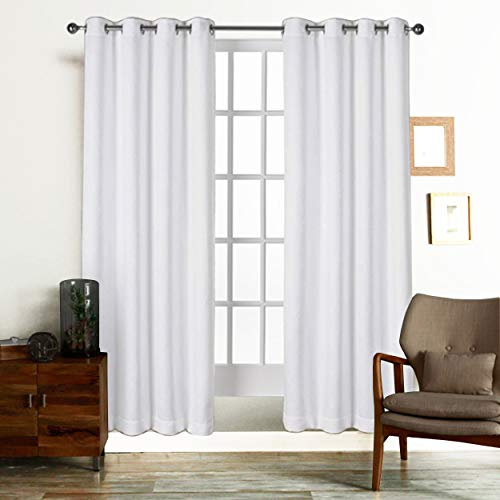 Curtains for Living Room and Bedroom, Made of 100% Natural Cotton, Eco friendly & Safe, Extra Large White curtains 84 inch long, Window Curtains Set of 2 Panels, Room Darkening Curtains by Tiny Break