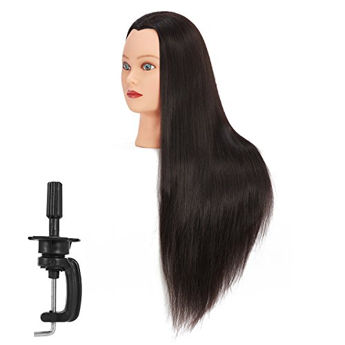 "Price comparison product image Hairginkgo 26-28"" Cosmetology Mannequin Head Hair Styling Training Head Synthetic Fiber Manikin Head Doll Head with Clamp (black)"