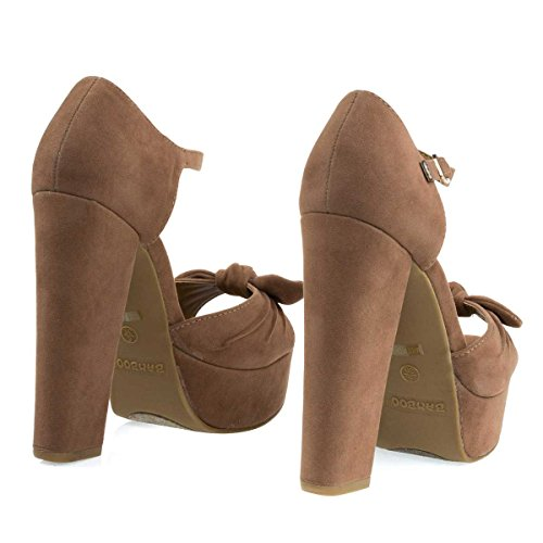 Sandalo Tacco Largo A Tacco Largo Aperto Su Plateau E Cinturino Alla Caviglia Color Cammello Beige
